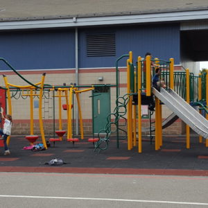 Elementary School Playground with Metal Slides gallery thumbnail